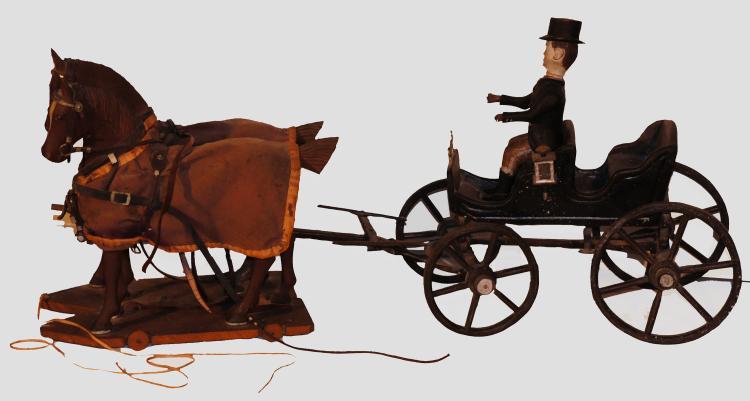 American Folk Art Horse & Buggy 19th century Emil Croch