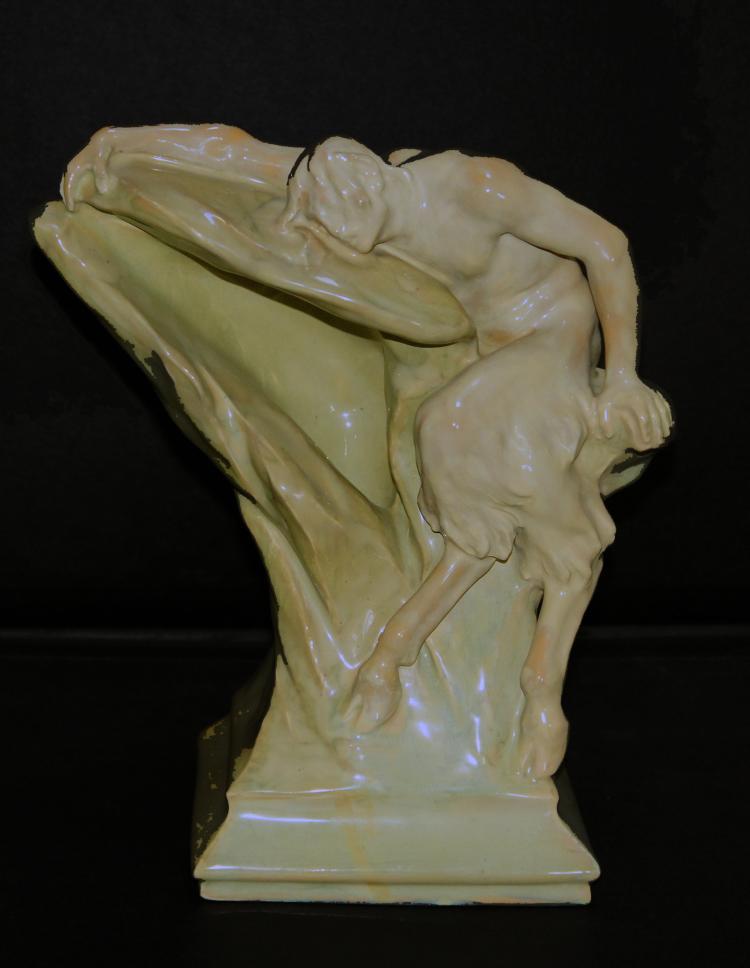 Lajos Mack Zsolnay Pan Figure Art Nouveau