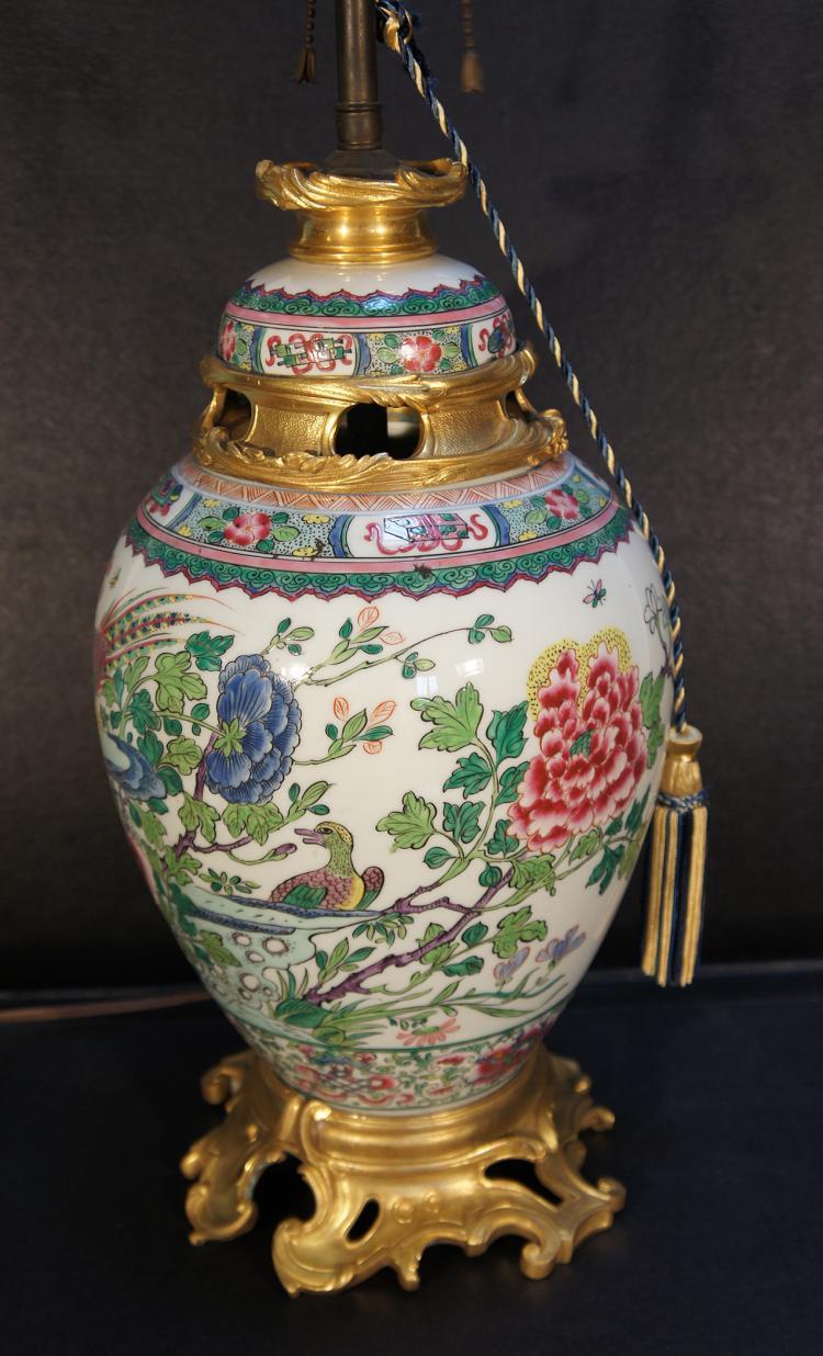 Samsom Famille Rose Porcelain Ormolu Lamp