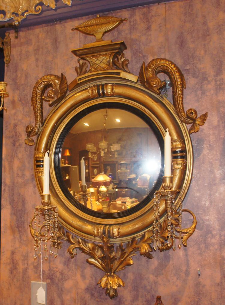 19th Century English Regency Convex Girandole Mirror
