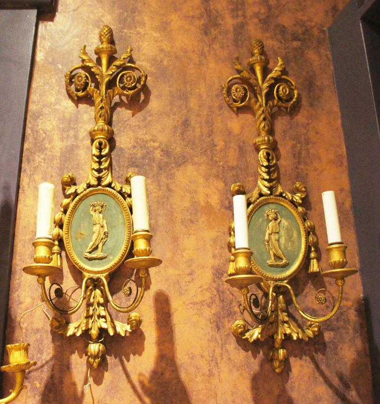 Pair of Adams Style Wall Sconces with Faux Wedgwood Plaques