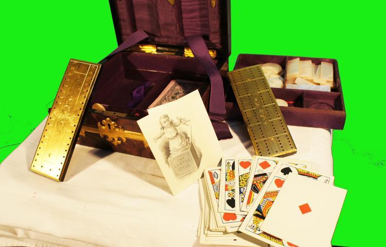 Tiffany Gothic Bezique Game Box Brass & Malachite