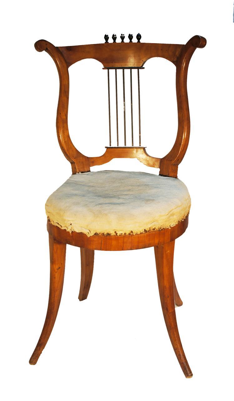 Set of 5 Viennese Biedermeier Lyre Back Chairs