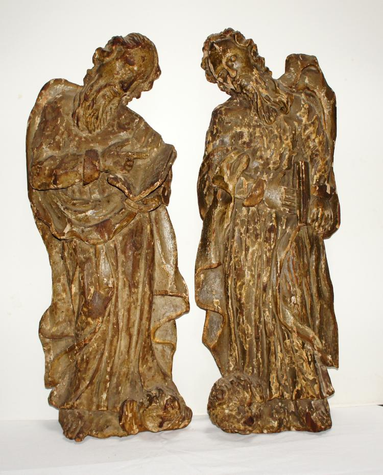 Pr. Carved Wood  European 17th Century Reliefs Matthew & Mark