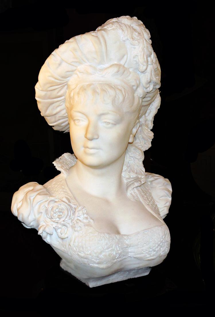 Marble Portrait Bust by Sarah Bernhardt