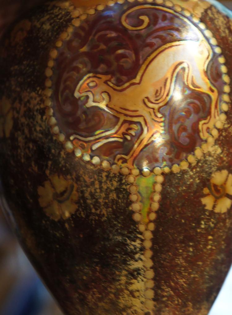 Art Deco Zsolnay Vase of a Panther