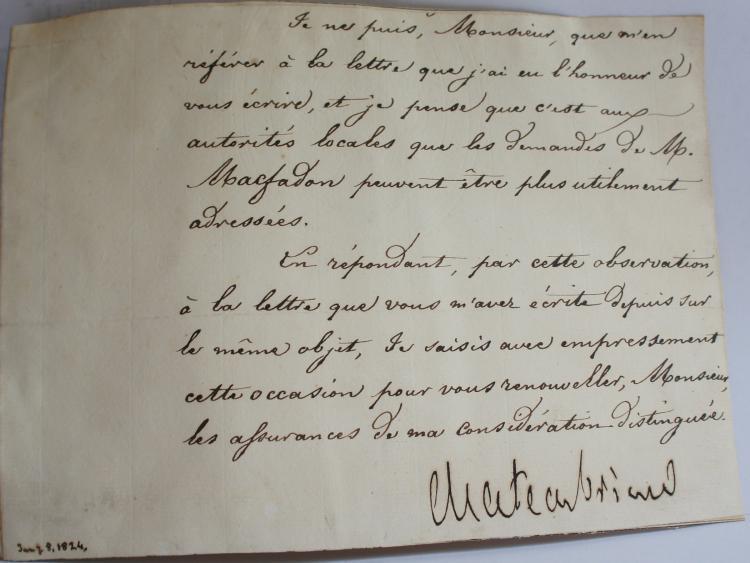 Autograph Signed Letter by Francois Rene de Chateaubriand 1824