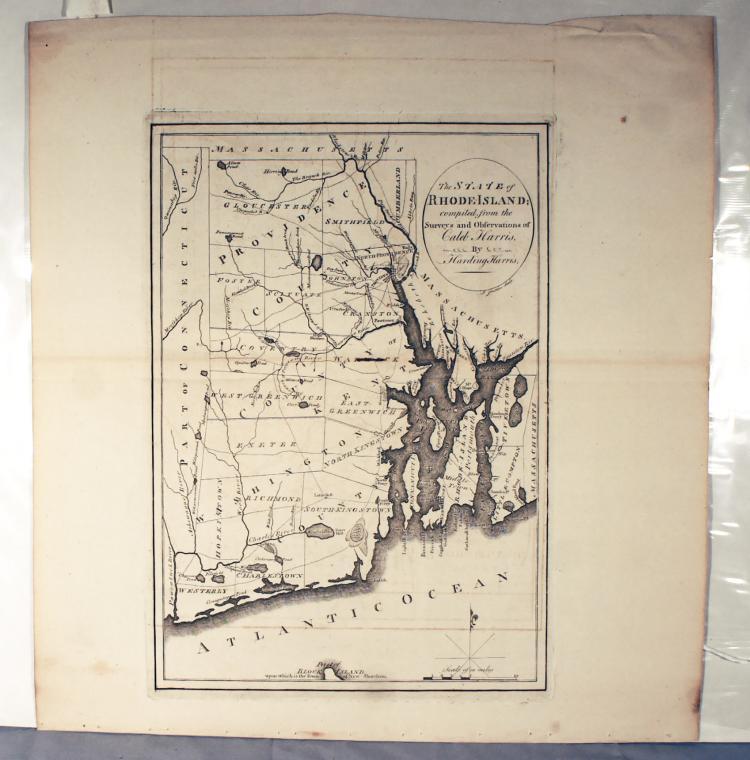 Caleb Harris Map Rhode Island J. Smither Sculp Harding Harris