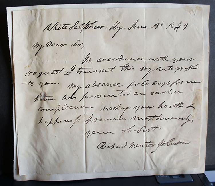 ALS  Richard Mentor Johnson U.S.Vice President Signature