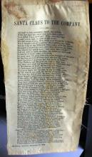1866 Santa Claus Poem printed on Silk