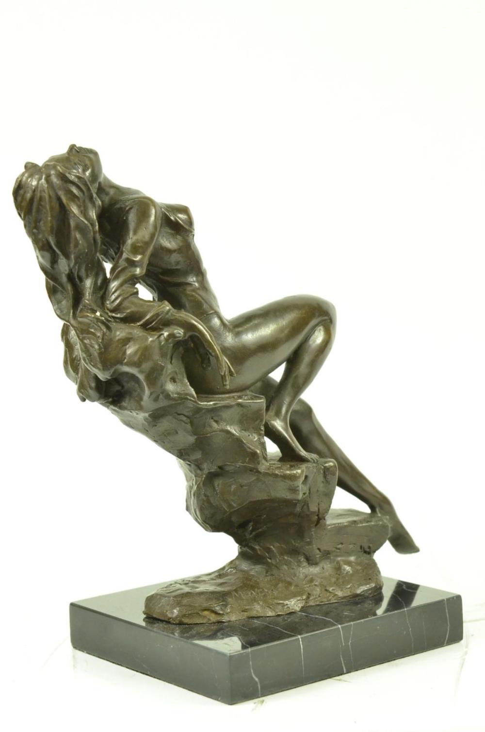 Erotic women sculpture in bronze finish