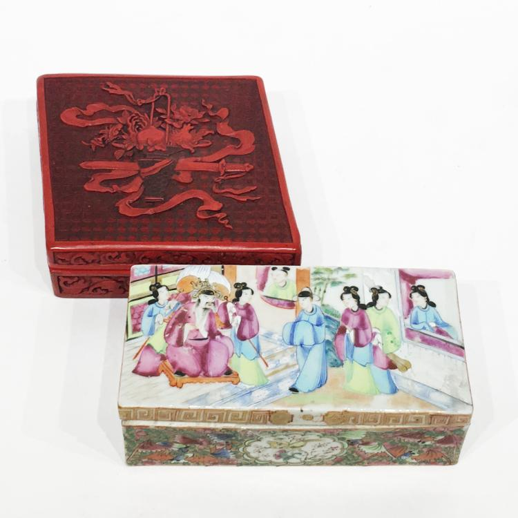 Chinese Cinnabar and Rose Medallion Boxes
