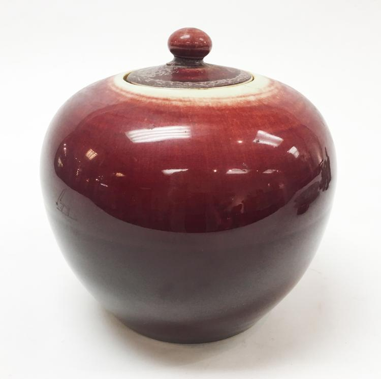 Chinese Ox Blood Covered Plum Jar