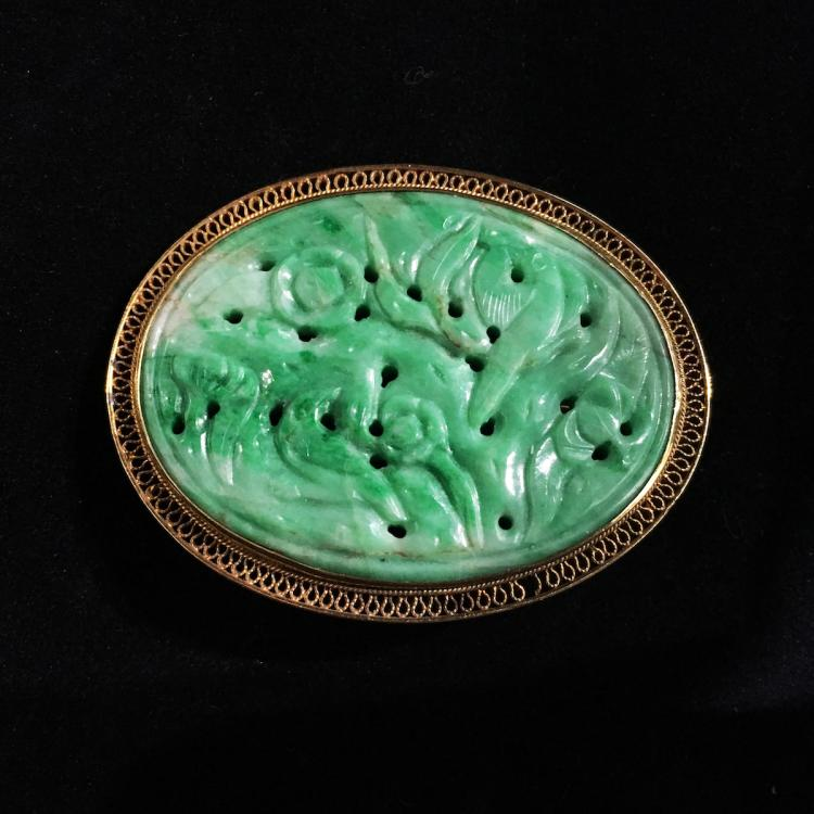 Chinese Jadeite Pin with14K Gold Mounting