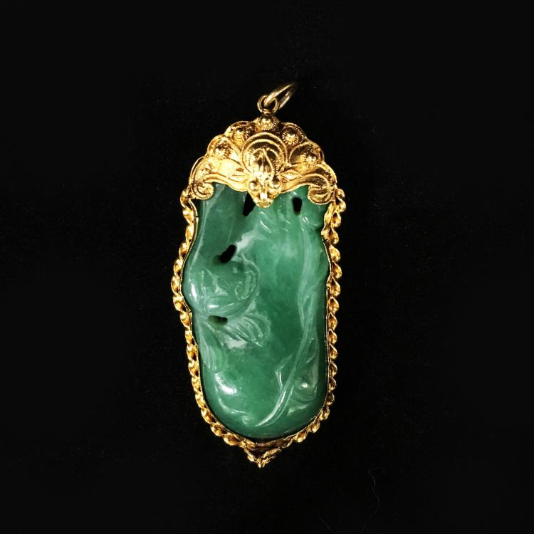 Chinese Jadeite Pendant w/ 22K gold Mount