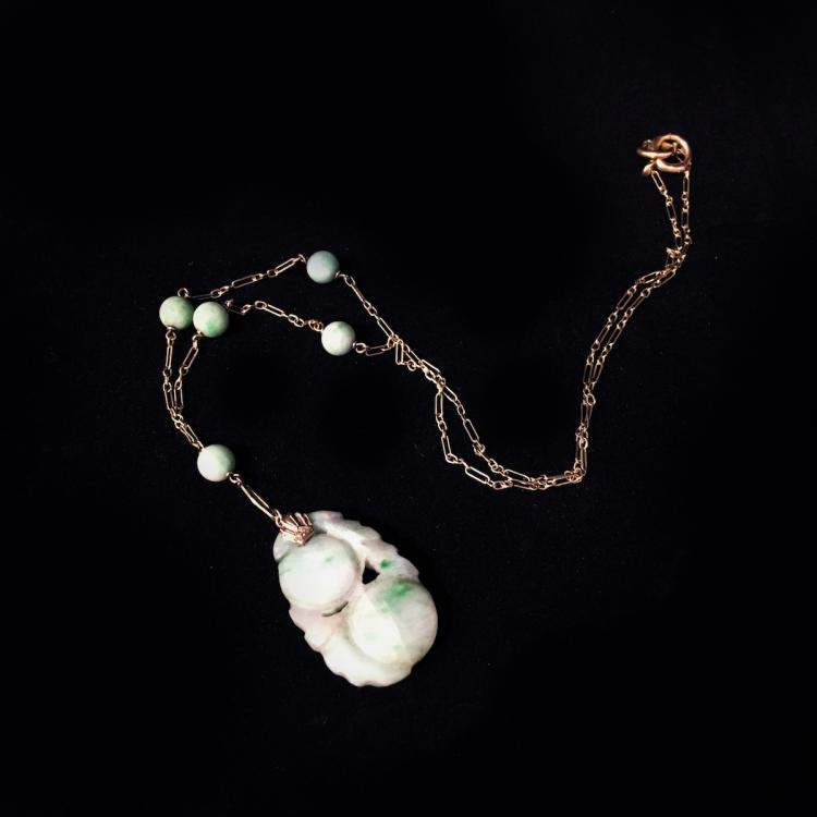 Chinese Jade & Gold Necklace