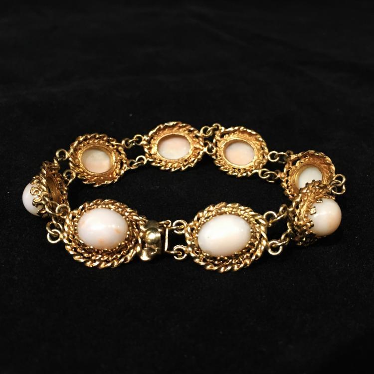 Coral & 14K Gold Bracelet