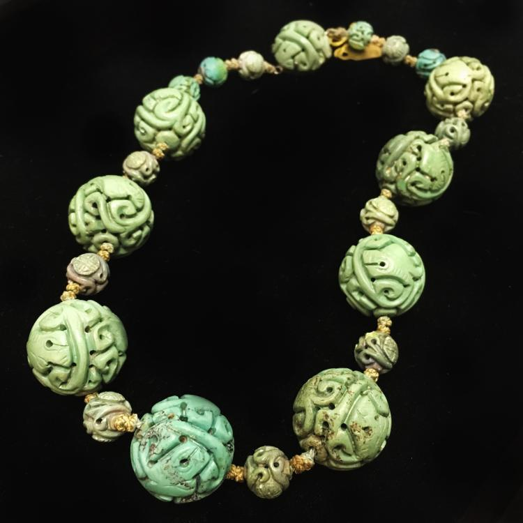 Chinese Turquoise Carved Beaded Necklace