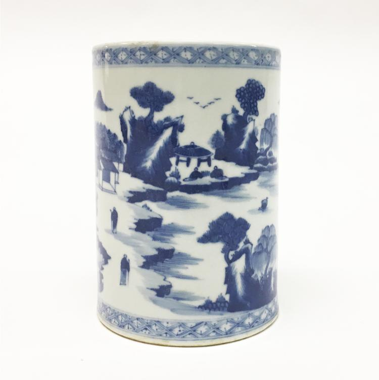 Chinese Blue and White Porcelain Brush-Pot