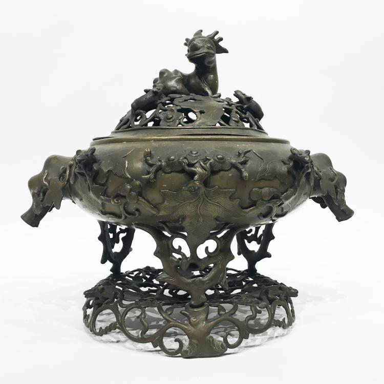 Chinese Bronze Covered Censor on Stand