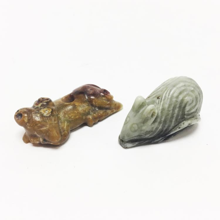 Chinese Carved Jade Mouse and Sheep