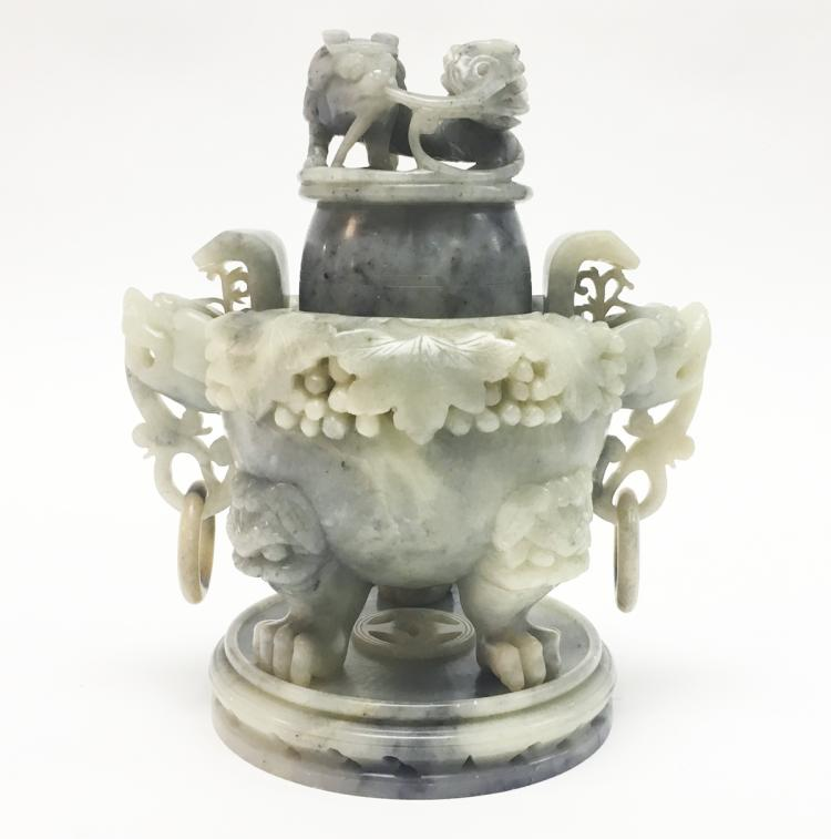 Chinese Soapstone Covered Urn