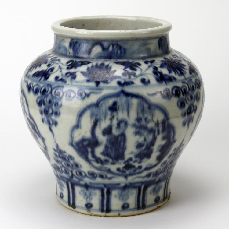 Chinese Blue and White Kuan Jar