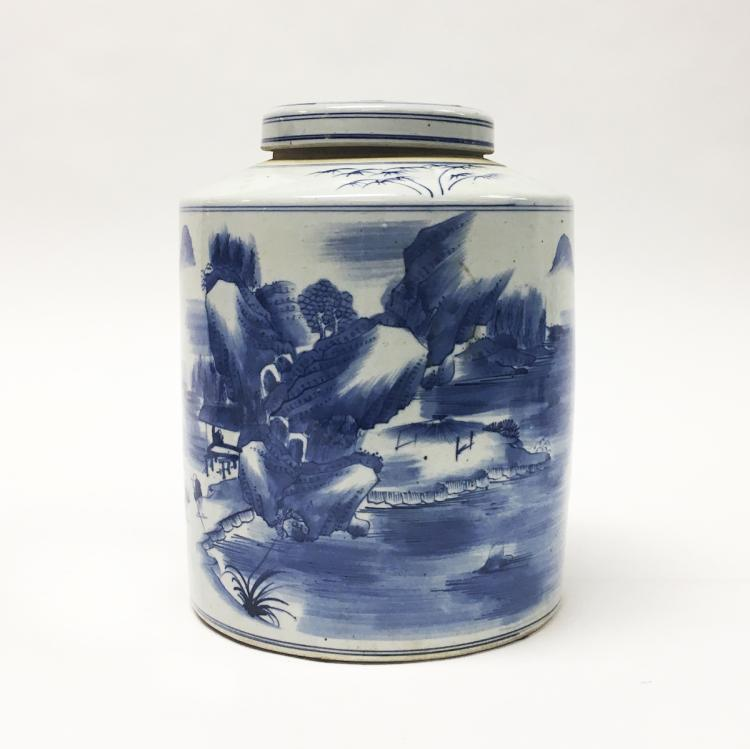 Chinese Blue and White Tea Jar