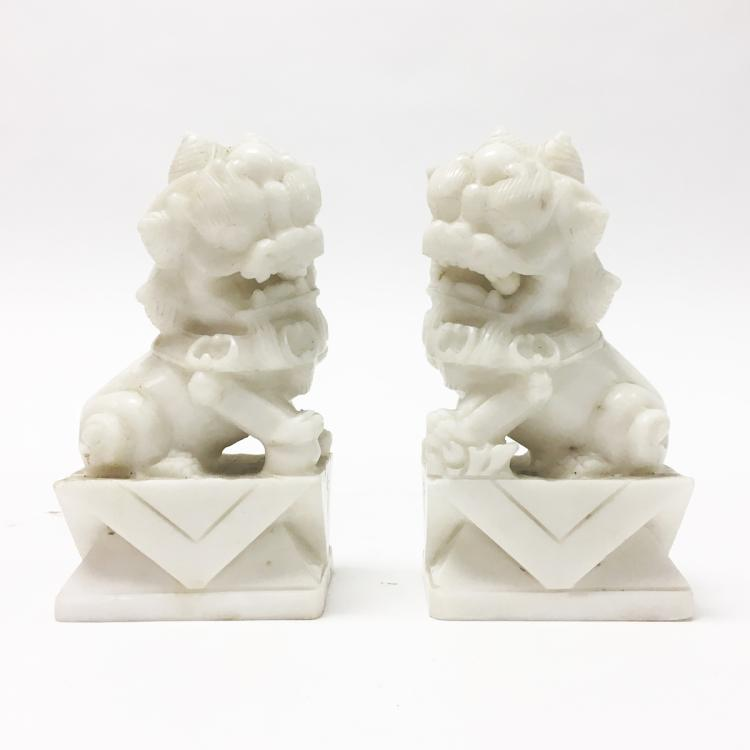 Chinese Pair of Marble Lions