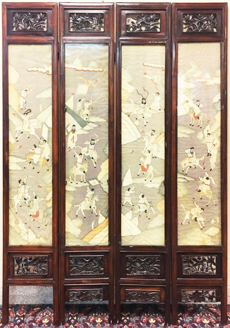 Chinese Silk Paneled & Wooden Screen