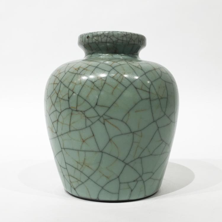 Chinese Crackled Green Glazed Vase