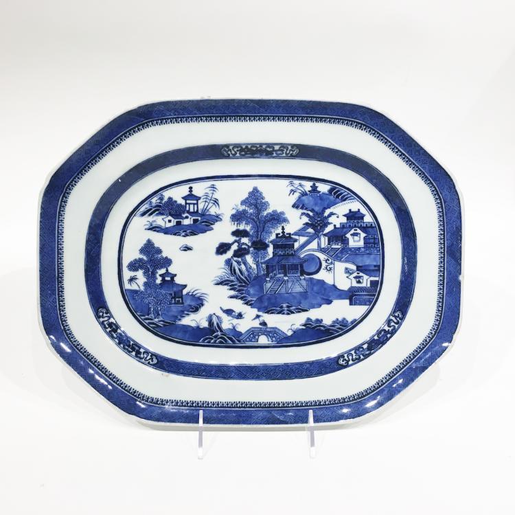 Chinese Nanking Blue & White Platter ca 1840