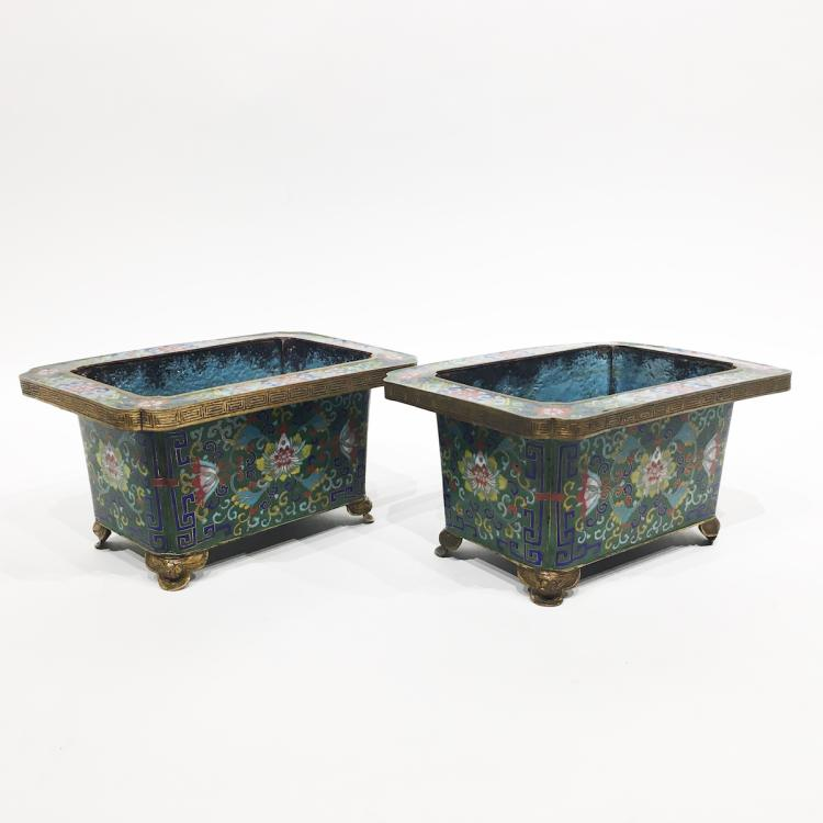 A Pair of Chinese Cloisonné Planters