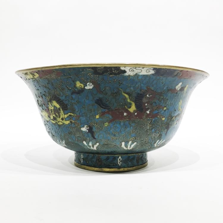 Chinese Cloisonne Bowl Decorated with Horse Motif
