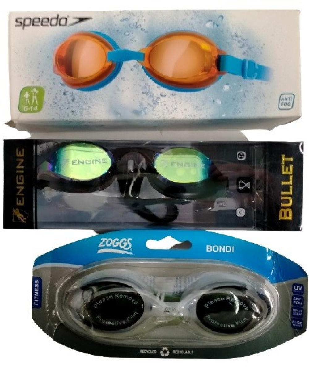 Three pairs of assorted goggles marked Speedo, Zoggs & Engine