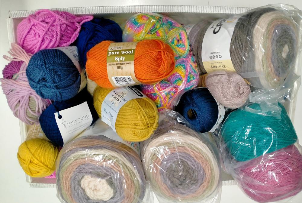 A box of assorted yarn