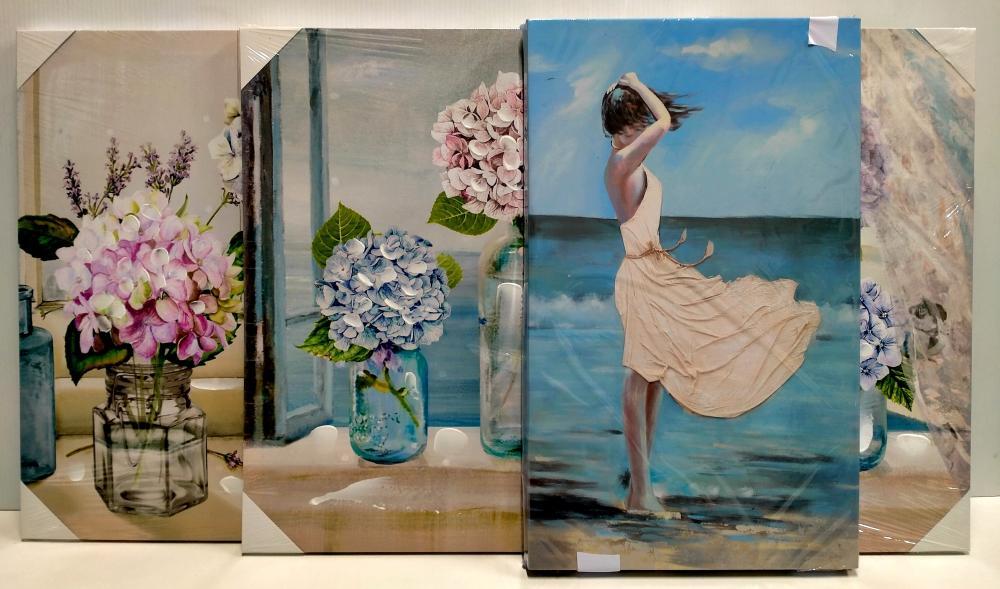 Three assorted prints in sealed packaging: hydrangeas 70 x 50 cm & girl 50 x 30 cm