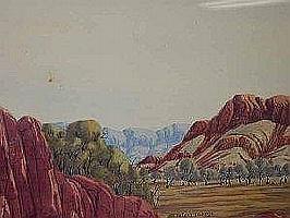 "ROLAND UBURTJA ""Central Australian Landscape"" signed Roland Uburtja lower centre watercolour 34.5 x 51cm"