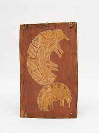 Anchor Barbuwa Wurrkidj (1924-1977)Two Echidna (c. 1960)natural earth pigments on eucalyptus bark 43 x 26.5cm