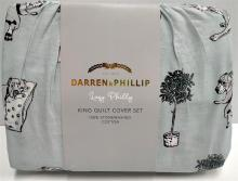 A king size quilt cover set marked Darren & Phillip