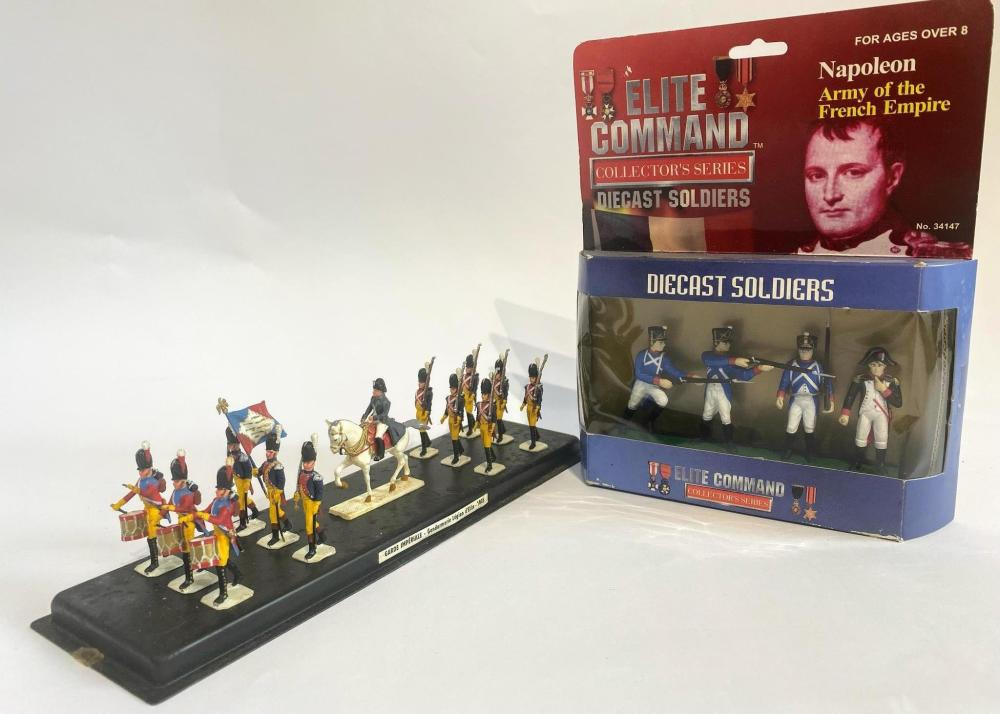 A Collection of Napoleonic Infantry including the Garde Imperiale 1805 & Elite Command Collectors Series includes a Papo 12.5cm figurine of Napoleon Mounted Charging on Marengo