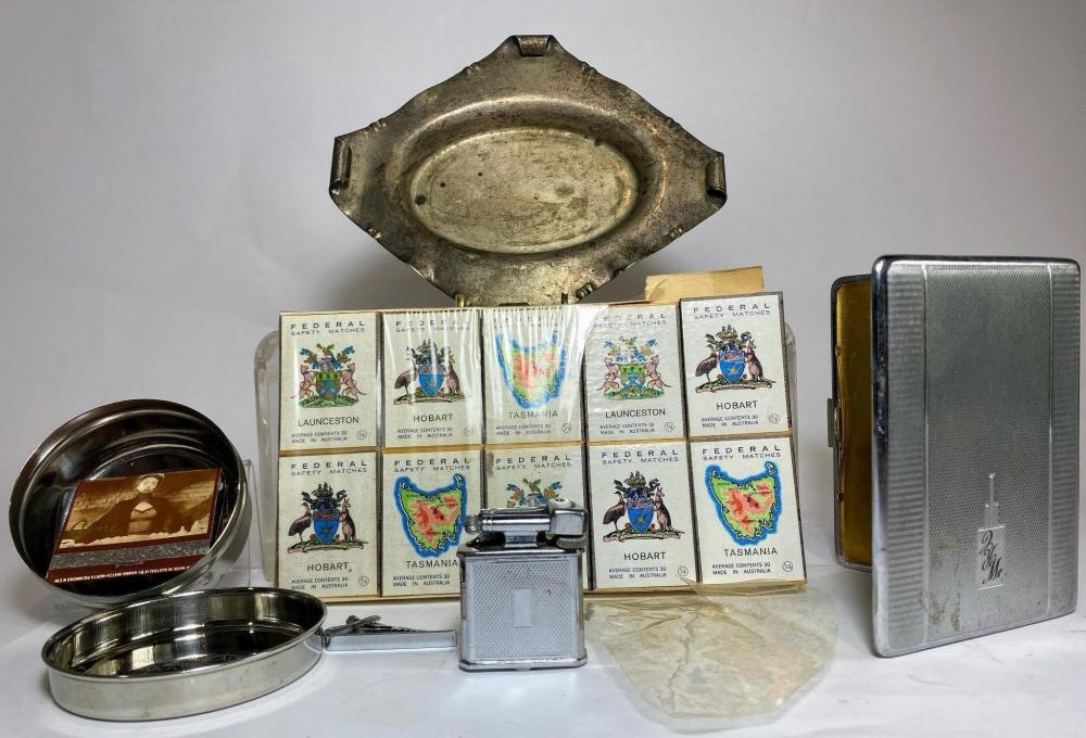 A Collection of Smoking Ephemera Including a Polo Cigarette Lighter once owner by Bill Collins' Father Ash Tray by Alfred Saunders of Sydney Included a Set of11950's & 1960's keys and fobs