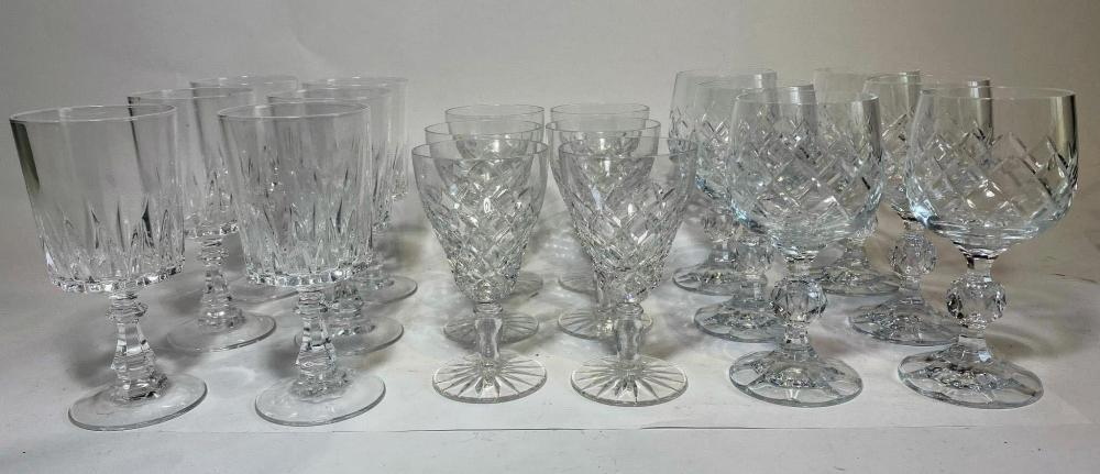 Three Sets of Six Crystal Glasses Port and White Wine Eighteen in total by d' Arques and Bohemian Crystal