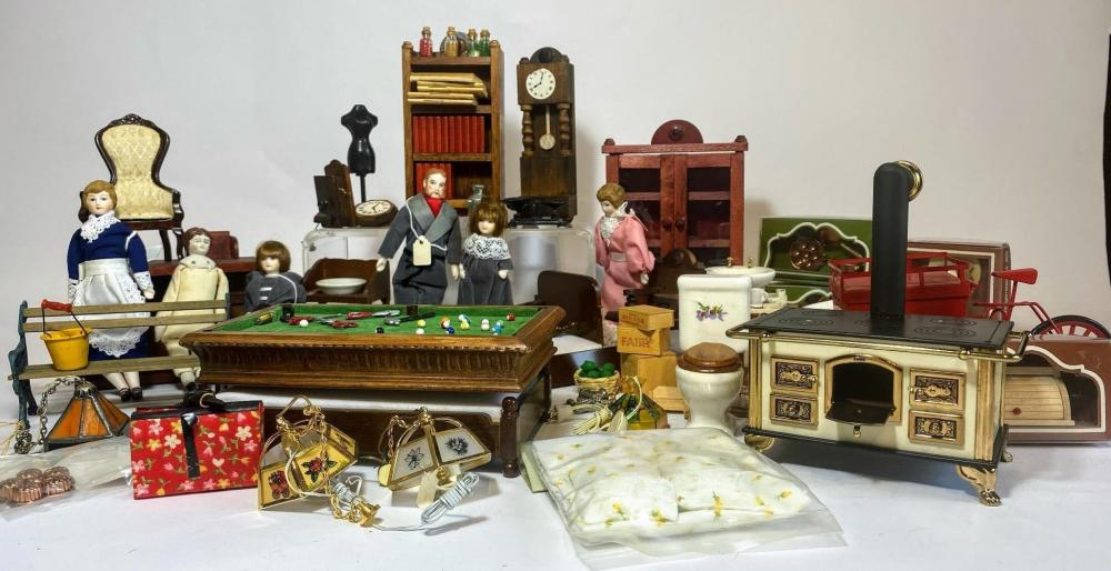 A Comprehensive Collection of Dolls House Furniture Dolls & Accessories by Hennig of Germany & The Miniature Shoppe Lewiston NY Includes Partially assembled & Non Assembled Kits