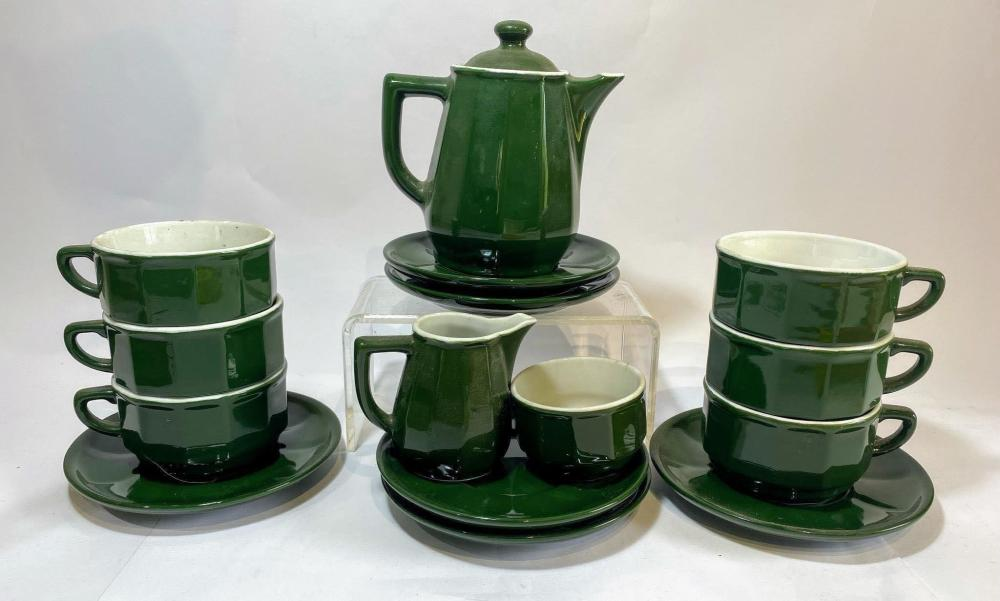A Deep Green Glazed Coffee Set Comprising Pot Creamer Sugar Bowl Six Cups and Saucers