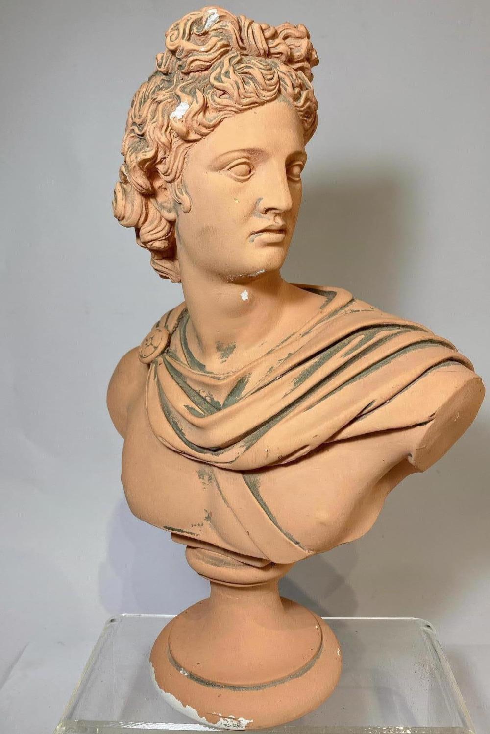 A Plaster Replica Bust of the Apollo Belvedere in Terracotta Faux Finish