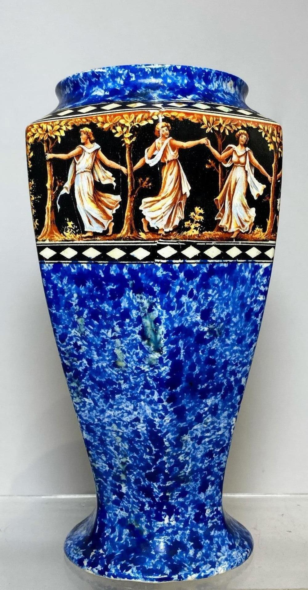 A Vase by H & K Tunstall Made in England Earthenware with Majolica Cobalt Blue with Dryads Dancing Amidst Woods
