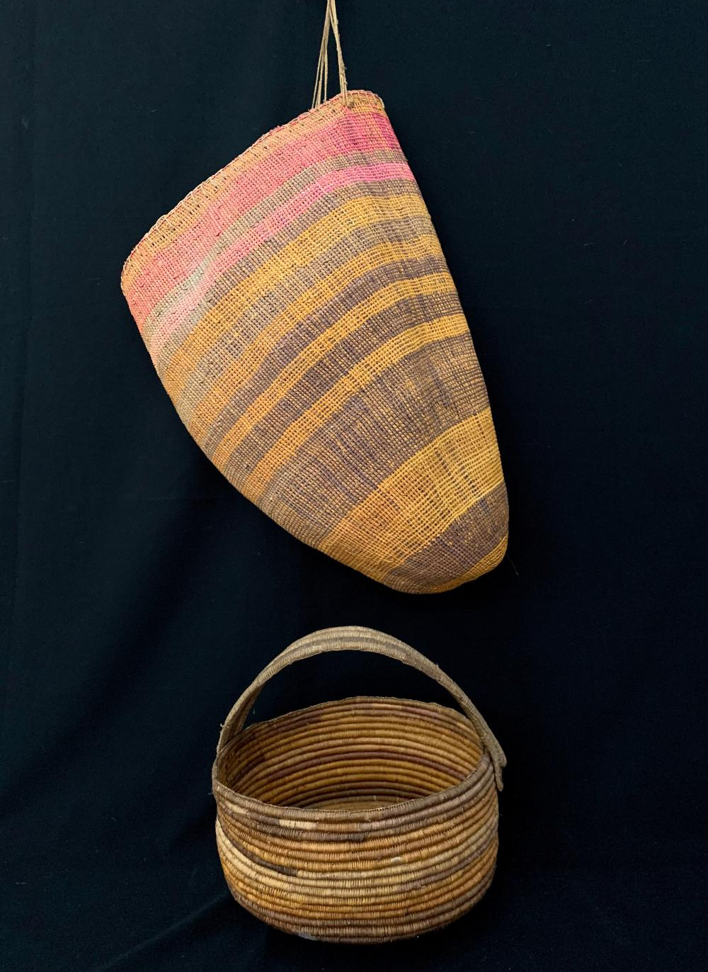A Large Aboriginal Dilly Bag and a Round Woven Fibre Basket Dyed with Plant Pigment, Northern Territory