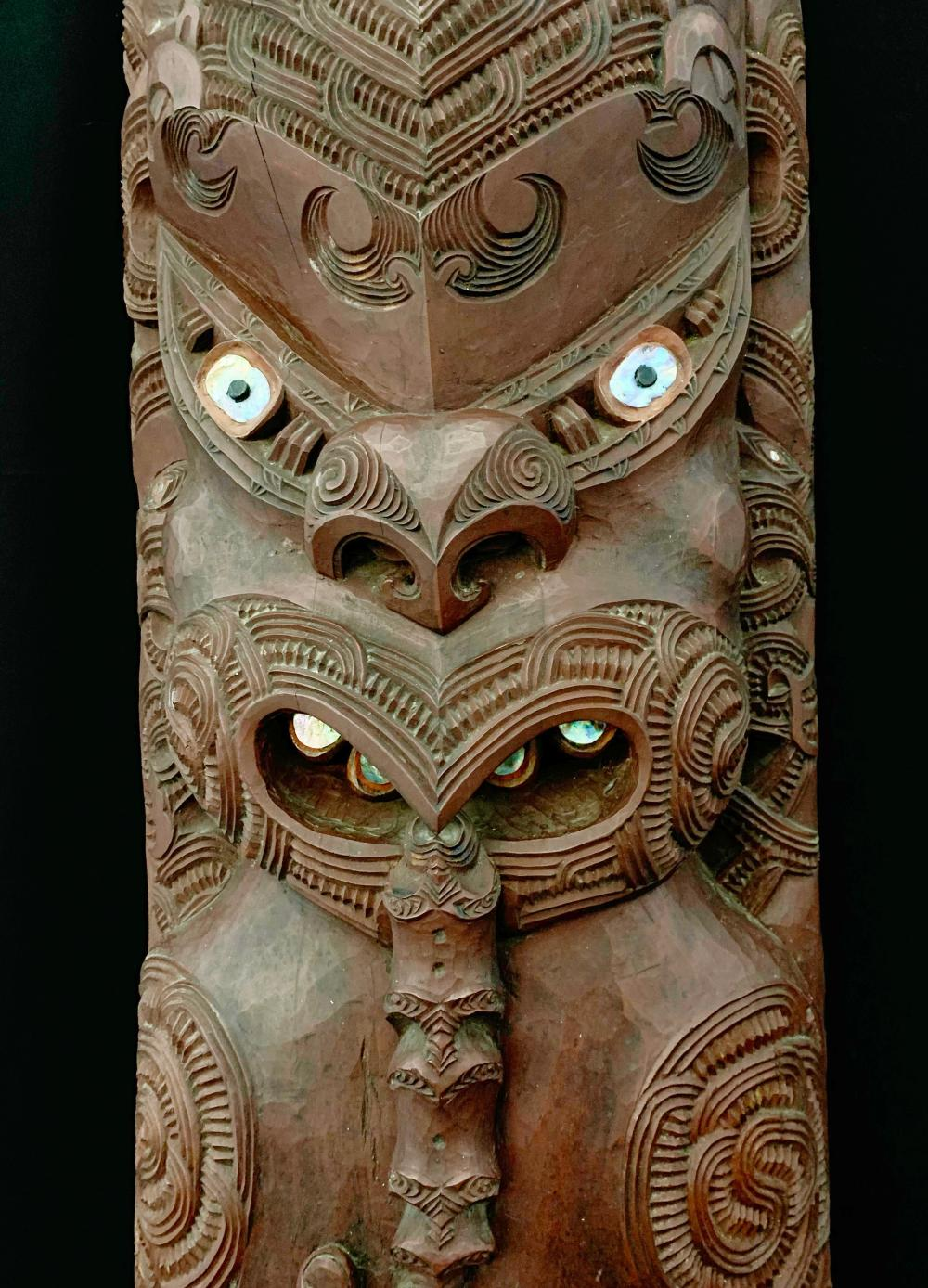 "Teko Teko, ""Tutane Kai"", Ornamented Ancestral Figure, Column Section of a Maori Pa, with Paua Pearl Shell Inlay, Rotorua, New Zealand"
