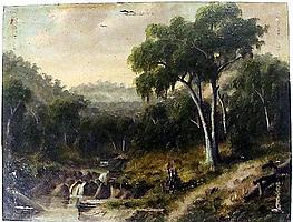Alfred William Eustace (1820-1907) Landscape, Emerald 1868 Oil on artist's board